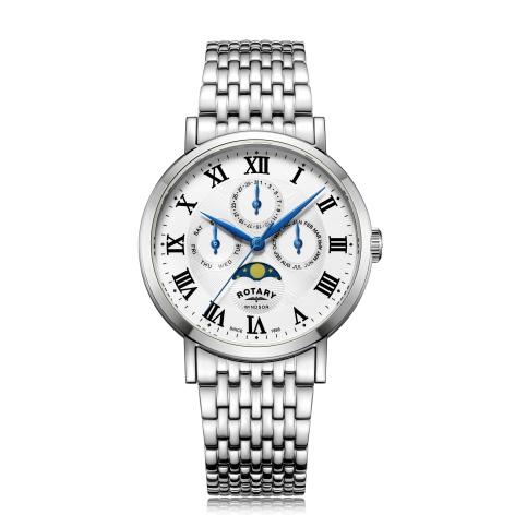 ROTARY【ロータリー】Windsor【ウィンザー】トリプルカレンダー・ムーンフェイズ・クォーツ腕時計/正規代理店商品/男女兼用腕時計/送料無料