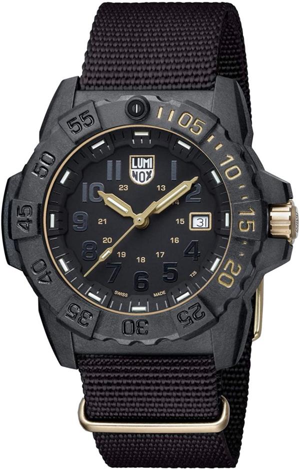 世界限定1618本のスイス製LUMINOX【ルミノックス】NAVY SEAL 3500【ネイビーシールズ】ゴールド×ブラック/ダイブウォッチ200m防水腕時計/正規代理店商品