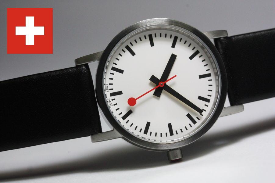 実際にスイス国鉄で採用されているロゴなしデザイン採用!よりオリジナルに忠実なデザイン!スイス鉄道公式時計MONDAINE【モンディーン】レディース