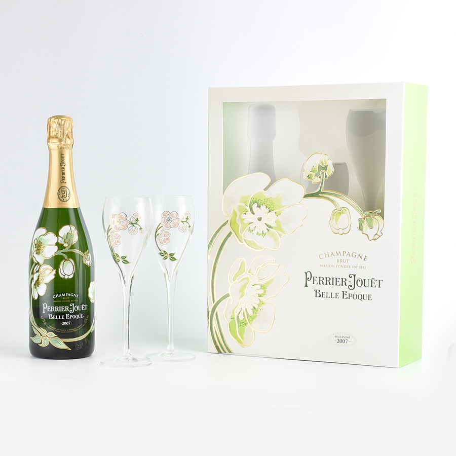 Perrier-jouet Belle Epoque ブランフル glass 2 leg set gift boxed