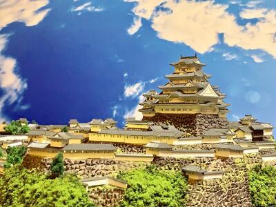 [完成品] 姫路城 A3サイズ 世界遺産 国宝 現存天守 日本100名城 日本の城 お城 ジオラマ 模型 プラモデル 城郭模型
