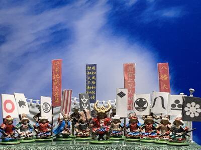 [完成品]川中島の戦い 50体セット 1561年9月 武田信玄・上杉謙信 戦国合戦 ジオラマ 戦国 武将 風林火山 毘沙門天 フィギュア プラモデル  時代 模型 1/72サイズ