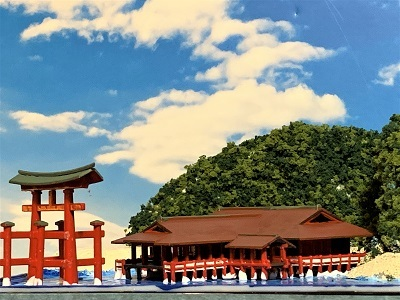 [完成品]厳島神社 ケース付き ミニミニサイズ 神社 ジオラマ 模型 プラモデル