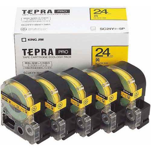 キングジム テプラ PROテープ エコ黄色24mm黒文字×20