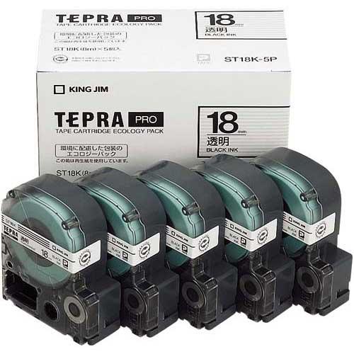 キングジム テプラ PROテープ エコ透明18mm黒文字×20