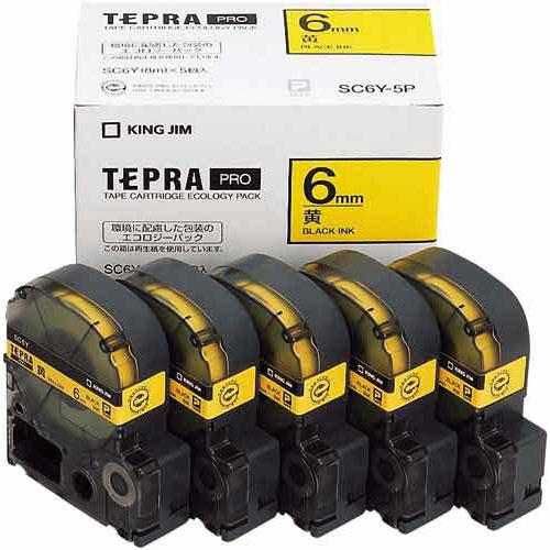 キングジム テプラ PROテープ エコ 黄色6mm黒文字×20