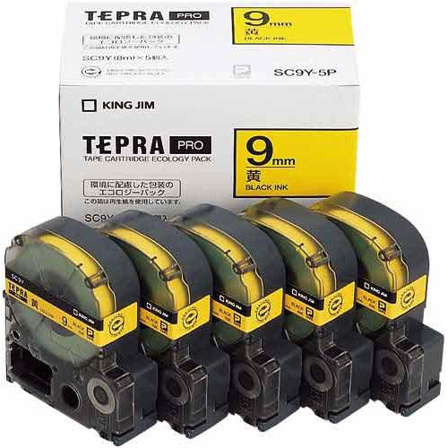 キングジム テプラ PROテープ エコ 黄色9mm黒文字×20