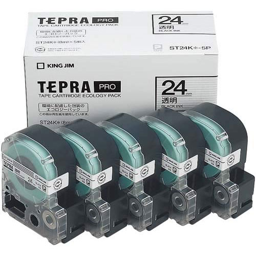 キングジム テプラ PROテープ エコ透明24mm黒文字×20