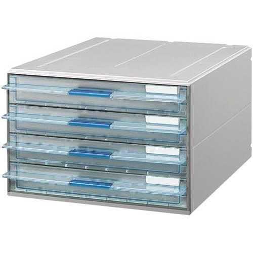 コクヨ レターケースUNIFEEL透明引き出し浅型4段×3