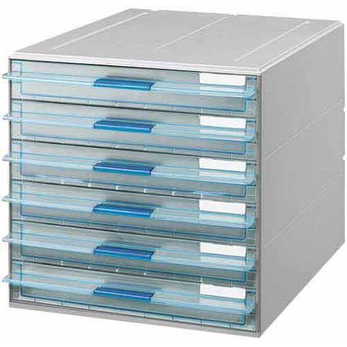 コクヨ レターケースUNIFEEL透明引き出し浅型6段×3