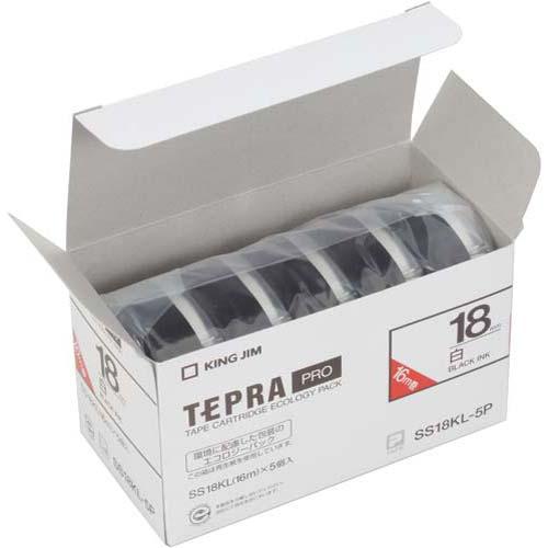 キングジム テプラ PROテープ ロング白色黒字18mm×5
