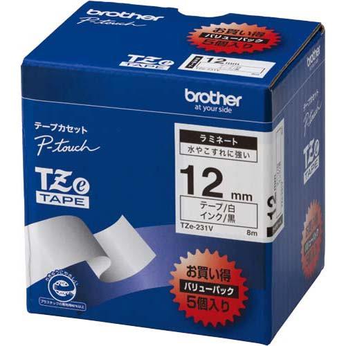 ブラザー ピータッチ ラミネート白色テープ12mm黒文字5個