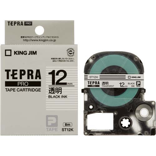 キングジム テプラ PROテープ 透明ラベル 12mm 黒文字