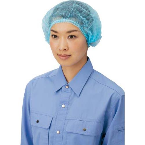 川西工業 不織布使い捨てヘアキャップ100枚 ブルー×20