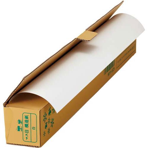 「カウコレ」プレミアム 色マス目模造紙 30m巻ロール 白 業パ 6本