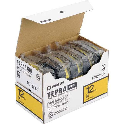 キングジム テプラ PROテープ エコ黄色12mm黒文字×20