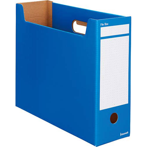 カウネット ファイルボックスA4横 ブルー 10個×10 | 整理箱 ファイル フォルダ ボックス 文具 文房具 収納 整理 書類 収納 書類整理 仕分け ステーショナリー 事務用品 A4