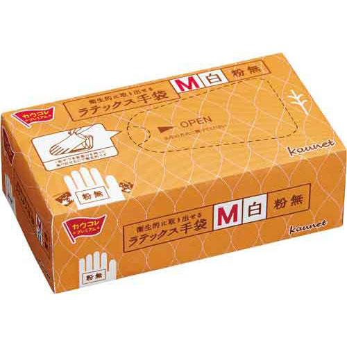「カウコレ」プレミアム 衛生的に取り出せるラテックス手袋M粉無 30箱