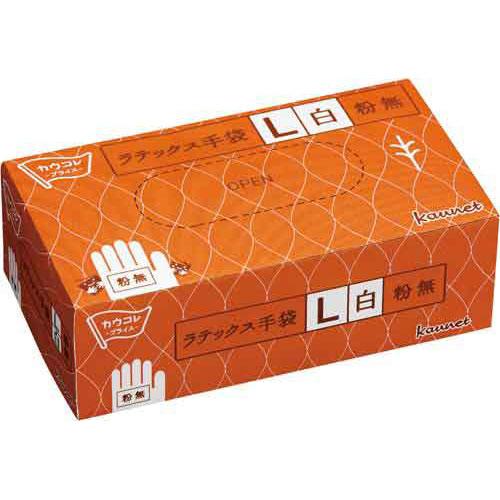 カウネット ラテックス手袋 粉無 L 100枚×30箱