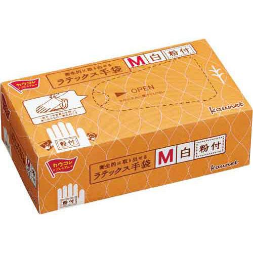 「カウコレ」プレミアム 衛生的に取り出せるラテックス手袋粉付M 30箱