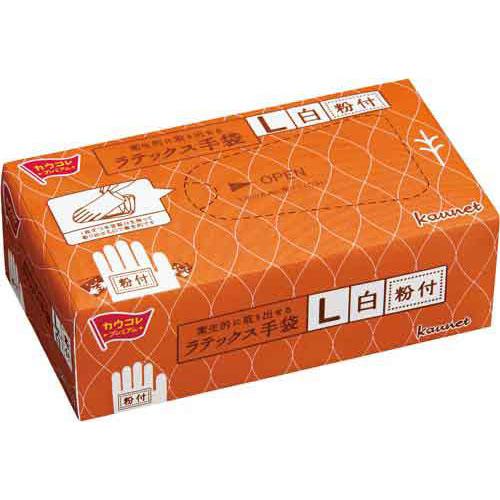 「カウコレ」プレミアム 衛生的に取り出せるラテックス手袋粉付L 30箱
