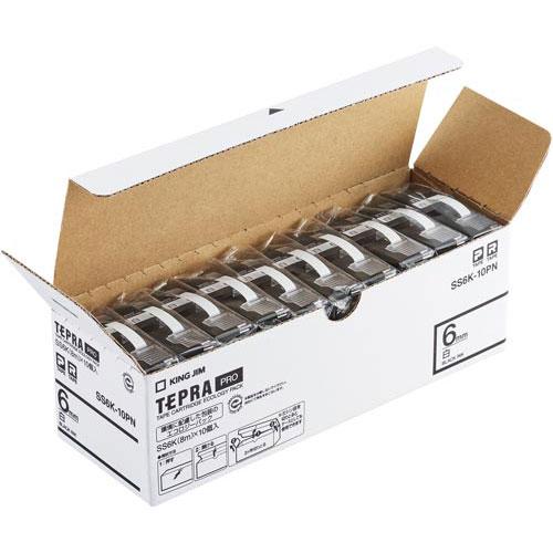 キングジム テプラ PROテープ エコ白色6mm黒文字 20個