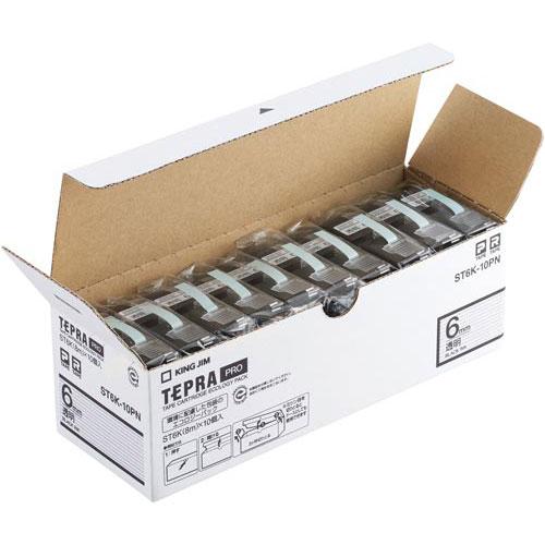 キングジム テプラ PROテープ エコ 透明6mm黒文字20個