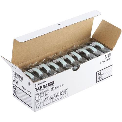 キングジム テプラ PROテープ エコ 透明9mm黒文字20個