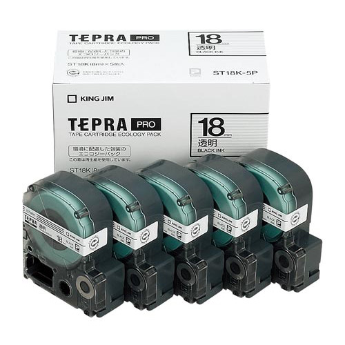 キングジム テプラ PROテープ エコ透明18mm黒文字10個