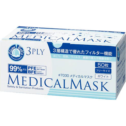 川西工業 メディカルマスク 3PLY ホワイト50枚×40箱