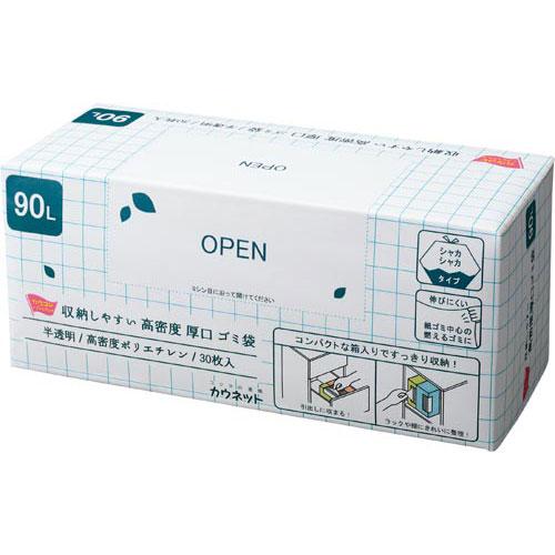 「カウコレ」プレミアム 収納しやすい高密度厚口ゴミ袋90L30枚×12