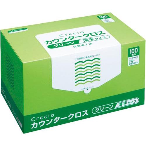 商品合計金額3000円 税込 市場 以上送料無料 日本製紙クレシア 100枚 クレシア 新作続 薄手グリーン カウンタークロス