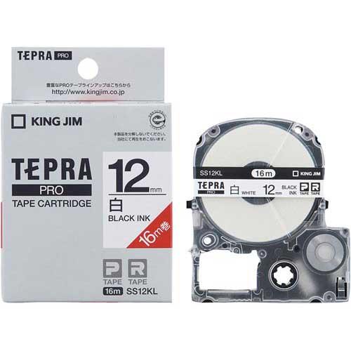 毎日続々入荷 商品合計金額3000円 税込 以上送料無料 開店祝い キングジム テプラ PROテープ ロング白色黒字12mm ロング白色黒字12mm JIM オフィス用品 ラベルプリンタ TEPRA KING