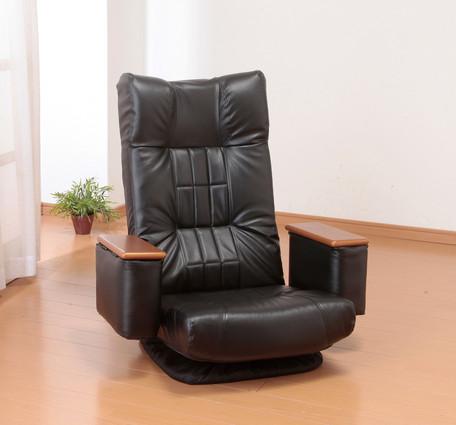 本日20日はポイント5倍/【送料無料】天然木肘付きリクライニング回転座椅子 14段階リクライニングチェア ハイバック仕様 折りたたみチェア