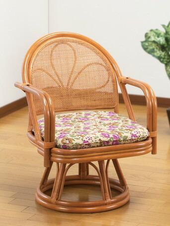 3980円(税込)以上で送料無料/天然籐肘付き回転チェア ミドルタイプ 座椅子 360度回転