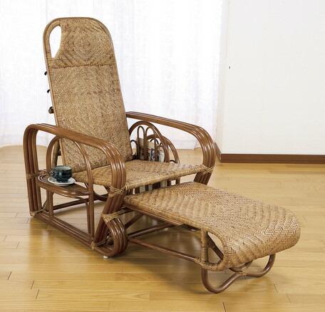 3980円(税込)以上で送料無料/天然籐リクライニング回転座椅子 ロータイプ 3段階リクライニングチェア