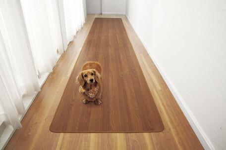 3/21-28 ポイント最大44倍/【送料無料】木目調廊下敷きブラウン 80×340cm フローリングマット キッチンマット カーペット・絨毯 じゅうたん