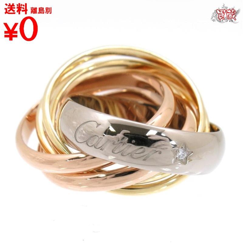 【正規品】【新古品】【新品仕上げ済み】  Cartier カルティエ  トリニティ ダイヤモンド ラベル リング  1PD #47 約8号 指輪  ホワイトゴールド イエローゴールド  ピンクゴールド k18 WG YG PG  【買蔵】