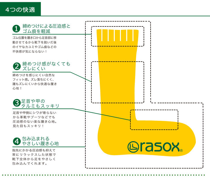 rasox ラソックス NEW Basic sock socks full length socks crew socks mens Womens
