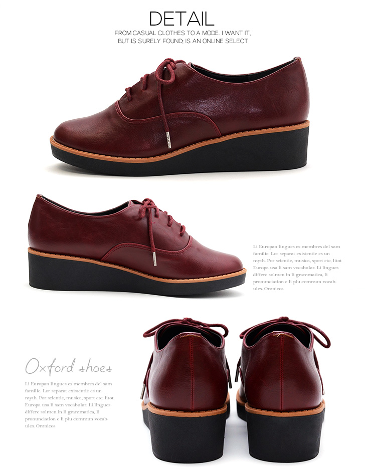 Wedge her Oxford Shoes Women's shoes shoes Oxford Uncle Manish enamel smooth loafers adult simple traditional lace-up wedge sole thick soles
