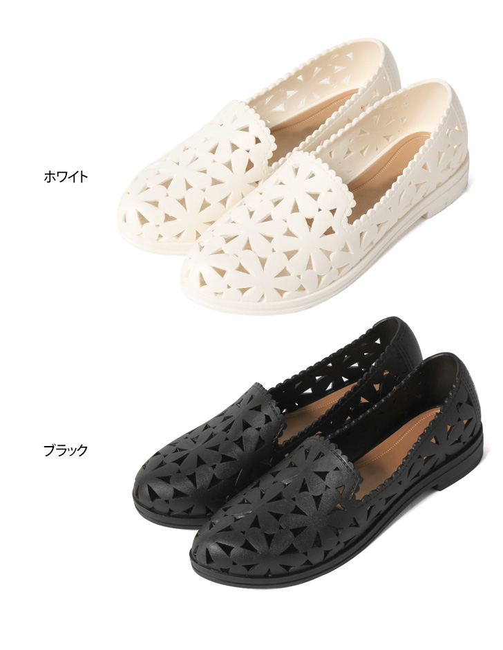 Floral lovers Rippon ladies rubber shoes slip-on rain shoes rainy season rain pumps mesh rubber flower flat shoes flower pettanko pettanko sea shoes walking