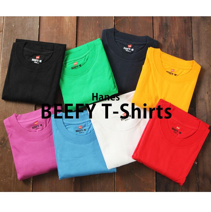 Hanes Hanes BEEFY-T short sleeve T shirt sportswear tag less short sleeve T shirt mens inner plain simple tops cotton BEEFY beef