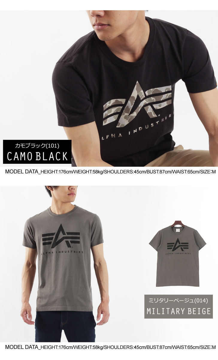 ALPHA Alpha short sleeve A-MARK T shirt Alpha industries logo print simple TC1097 front print military casual