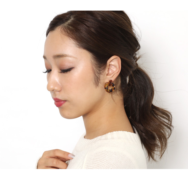 kawa rakuten global market tortoiseshell ring pierced earrings
