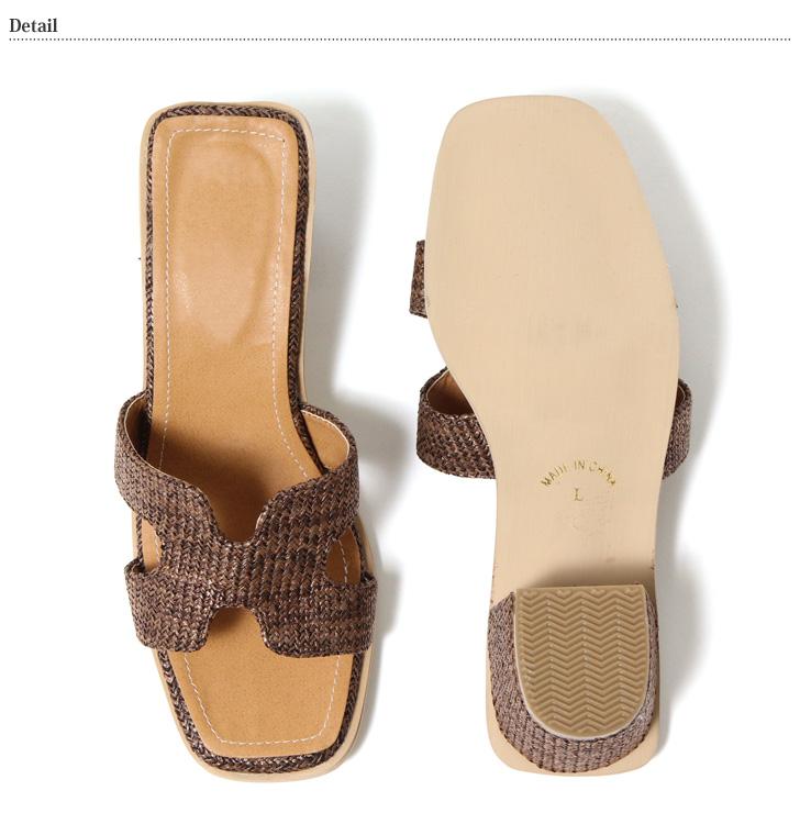 ラタン素材チャンキーヒールサンダル レディース ヒール シューズ 靴 サンダル スクエアトゥ 低反発 美脚 ラタン 無地 シンプル クッションソール 大きいサイズ 小さいサイズ 痛くない 6cmヒール 太ヒール