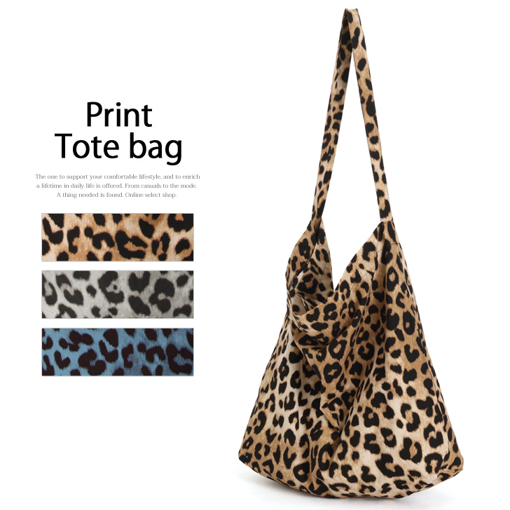 レオパード Pattern Print Tote Bag Lady S Shoulder Handbag Leopard Animal Light Weight Compact Eco