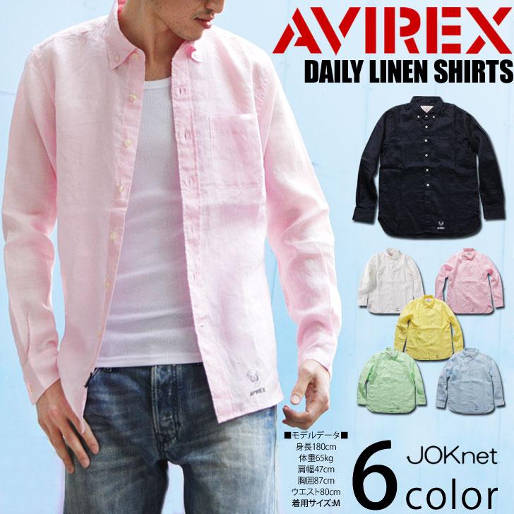 AVIREX abirekkusu DAILY L/S LINEN SHIRT每天休闲简单中间色按钮降低衬衫衬衫长袖子亚麻布亚麻人顶端男性人白K1000 KA