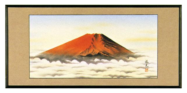 額装「赤富士」南祥光作 縁起の良い・紅富士の欄間額【送料無料】【smtb-tk】
