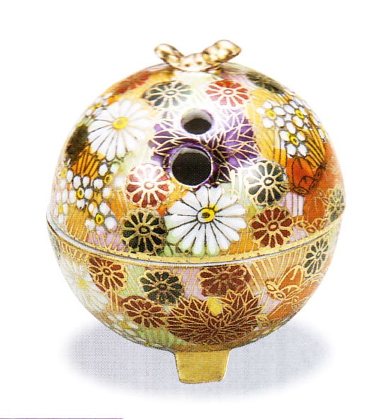 九谷焼 「2号豆香炉・金花詰」お祝い・海外への贈り物・ギフト