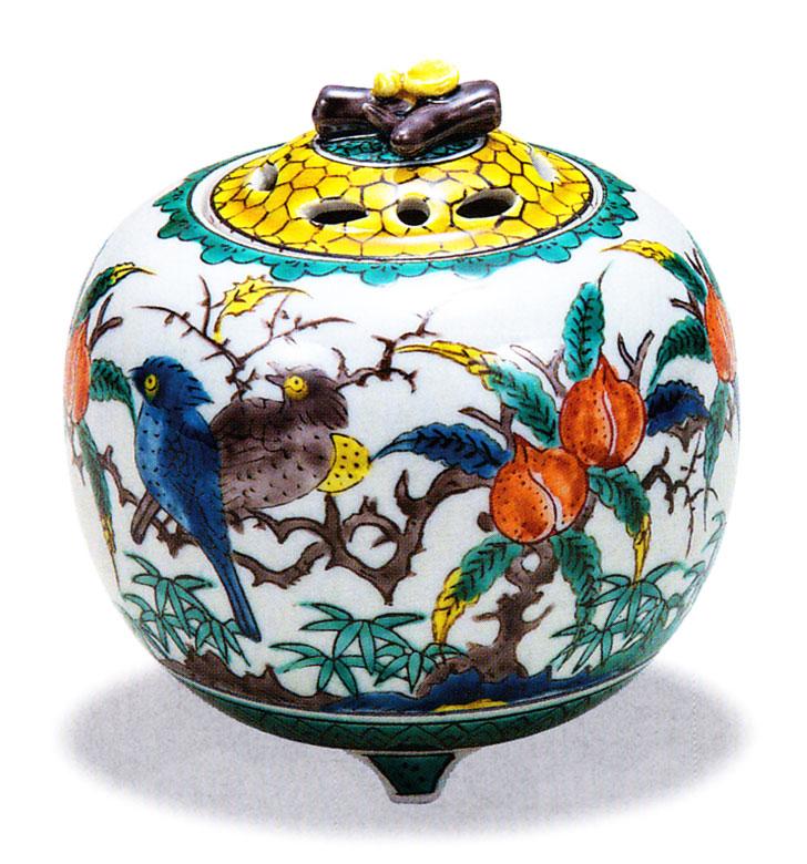 九谷焼 「3.5号香炉・古九谷花鳥」お祝い・海外への贈り物・ギフト